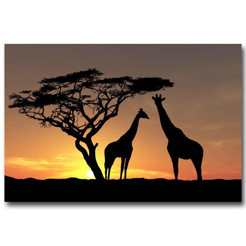 Africa Giraffe And Tree Sunset Skyline Nature Poster 32x24