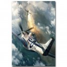 P 51 Vs BF 109 Fighter Military Poster Print 32x24