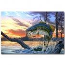 Bass Fishing Art Poster Print 32x24