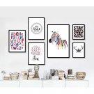 Zebra Deer Animal Minimalist Art Canvas Poster Picture Simple Quote 32x24