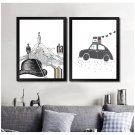 Abstract Minimalist Art Canvas Poster Picture Modern Decor Car Deer Beard 32x24