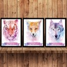 Tiger Wolf Animals Minimalist Art Canvas Poster Pictures Modern Decor 32x24