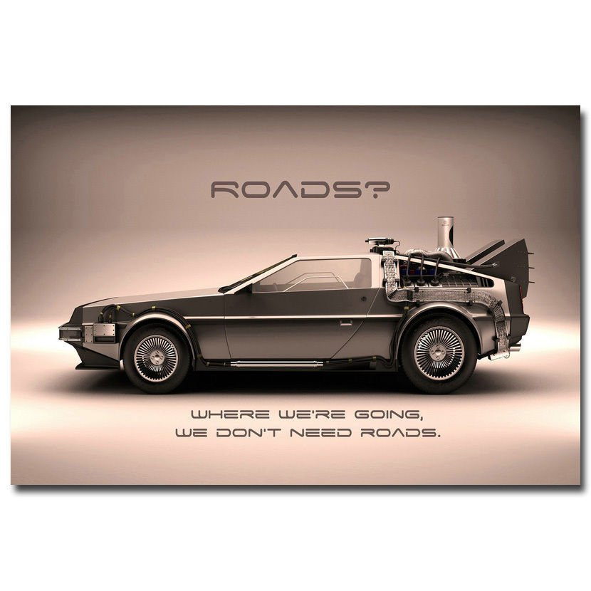 Back To The Future Car 1 2 3 Poster Print 32x24