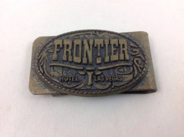 Rare Vintage Collectible Las Vegas Frontier Hotel Casino Brass Money Clip L@@K