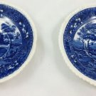 SET 2 SPODE'S TOWER COPELAND ENGLAND FLOW BLUE BOWL SAUCER COBALT AND WHITE