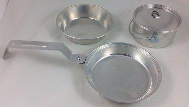 Individual Mirro Aluminum Portable Personal Camping Cook Mess Set Pot Pan