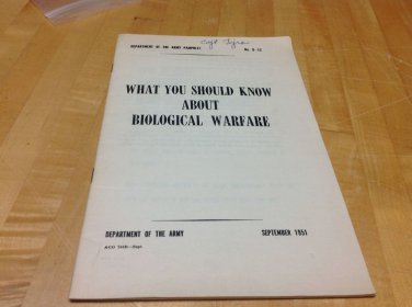 USA ARMY MILITARY WAR BOOKLET BIOLOGICAL WARFARE  DEPARTMENT 1951 #8-12 MILITARY