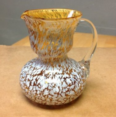 Hand Blown Marigold And White Splatter Glass Pitcher, Decanter, Jug, Server