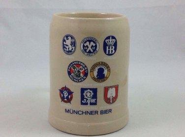 Vintage Munchner Bier West Germany  Crest Beer Mug Stein, Octoberfest Beer