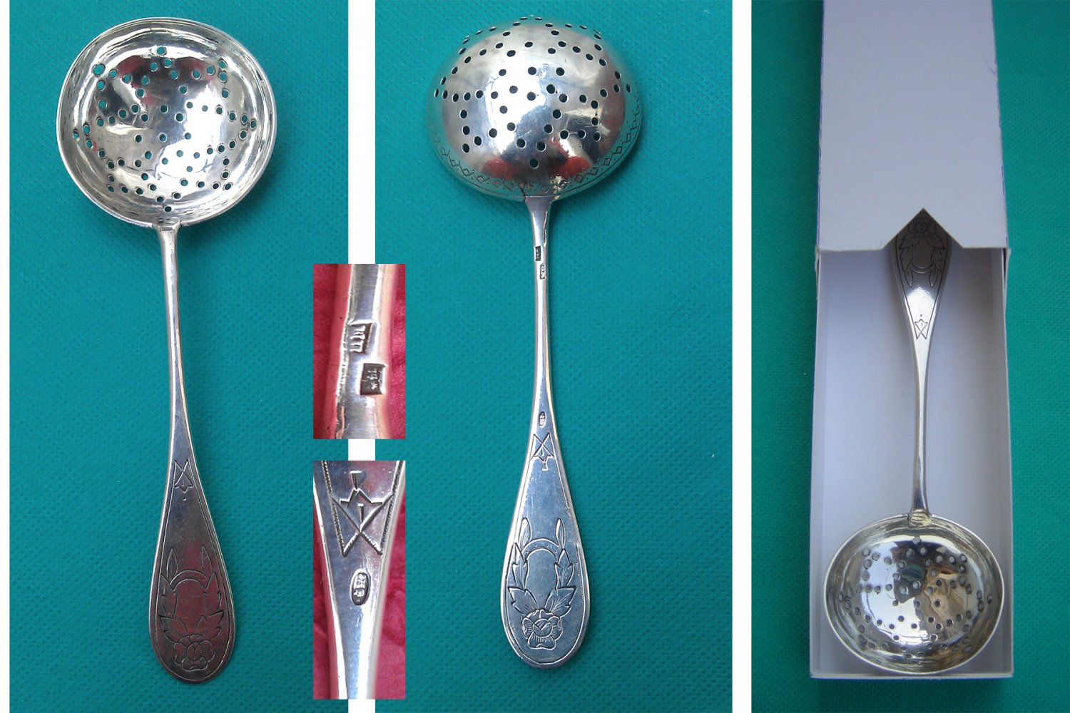 Tea Strainer Spoon in Solid Silver from Riga, Latvia