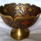 Vintage Indian engraved enamel brass bowl