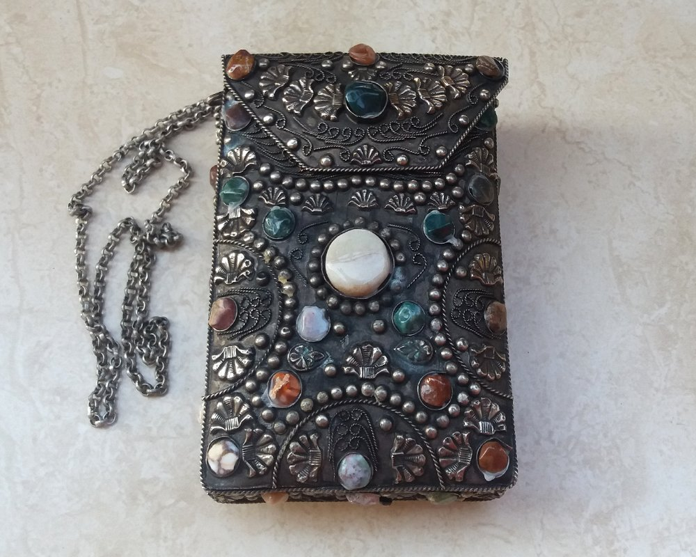 Vintage metal purse adorned with agates from India