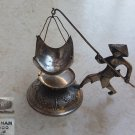 Fisherman Figurine Solid Silver 900 Tea Leaves Infusion Strainer Vietnam with 875 Soviet Hallmark