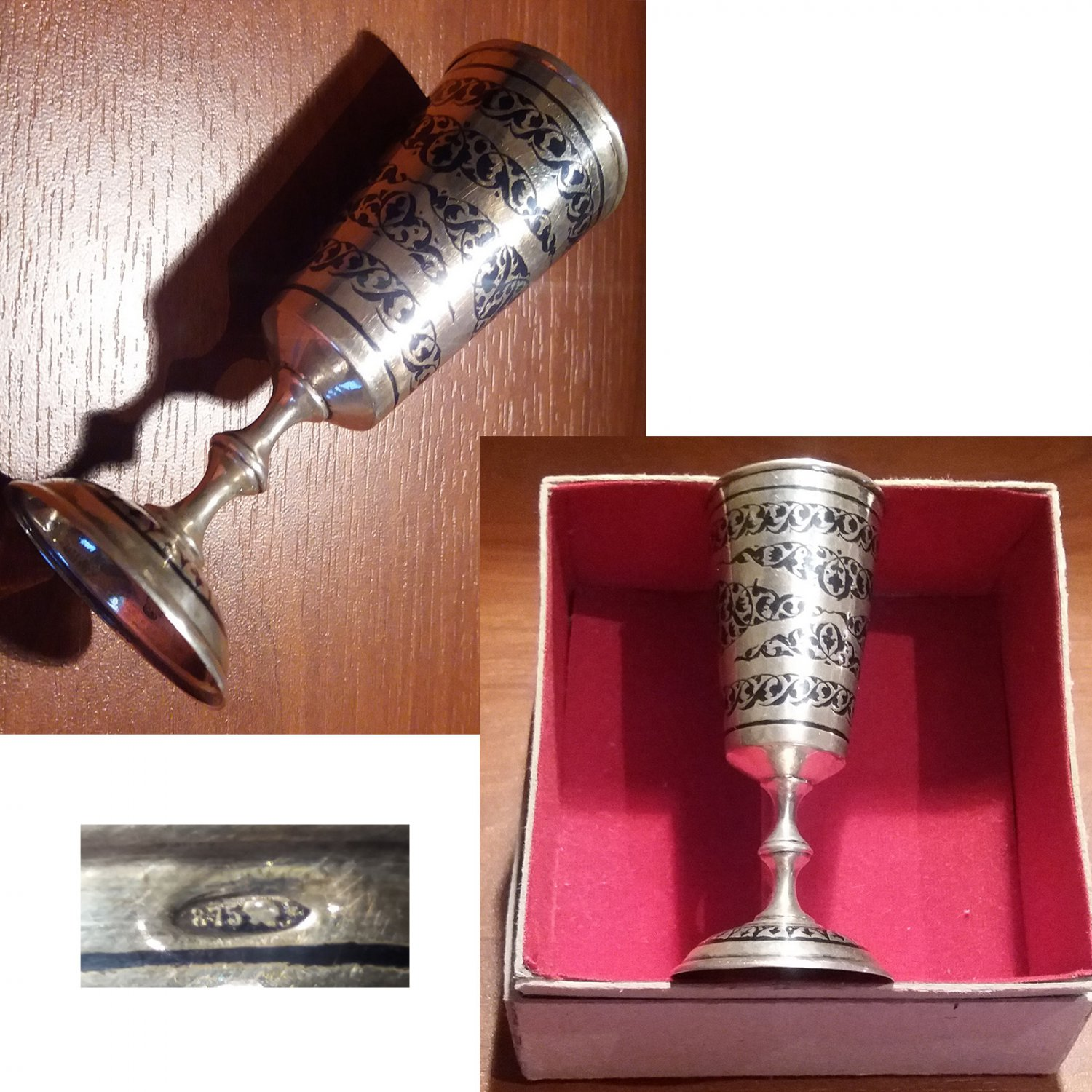 Traditional Russian footed vodka cup in solid silver from Bakou 1946/57
