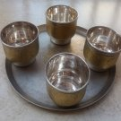 Traditional 4 Vodka Goblets Silver Plated with Serving Plate USSR