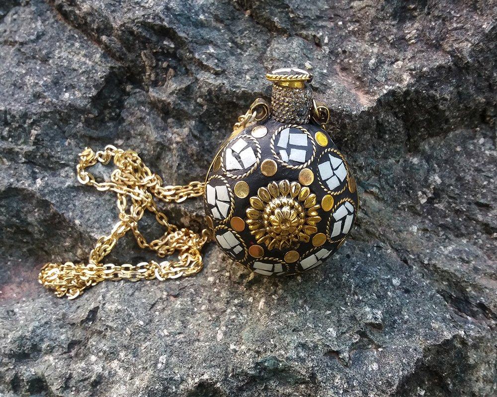 Ethnic Perfume Bottle Necklace