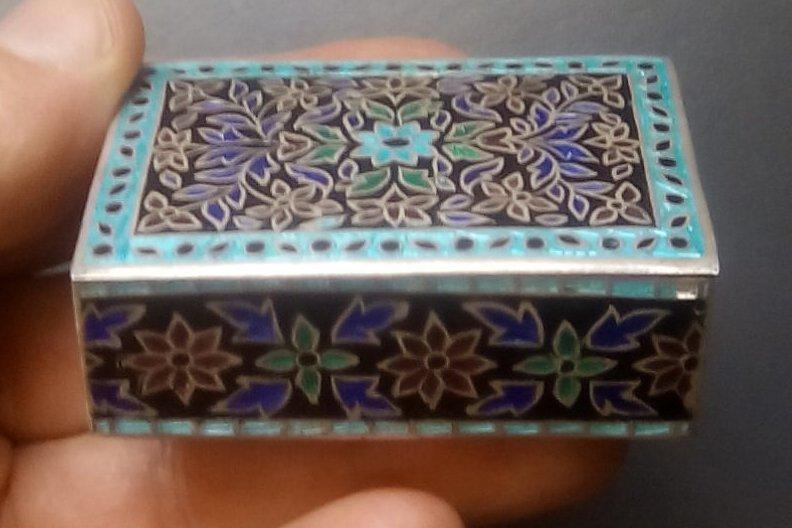 Indi 925 Silver Cloisonné Enamel Pill Snuff Box