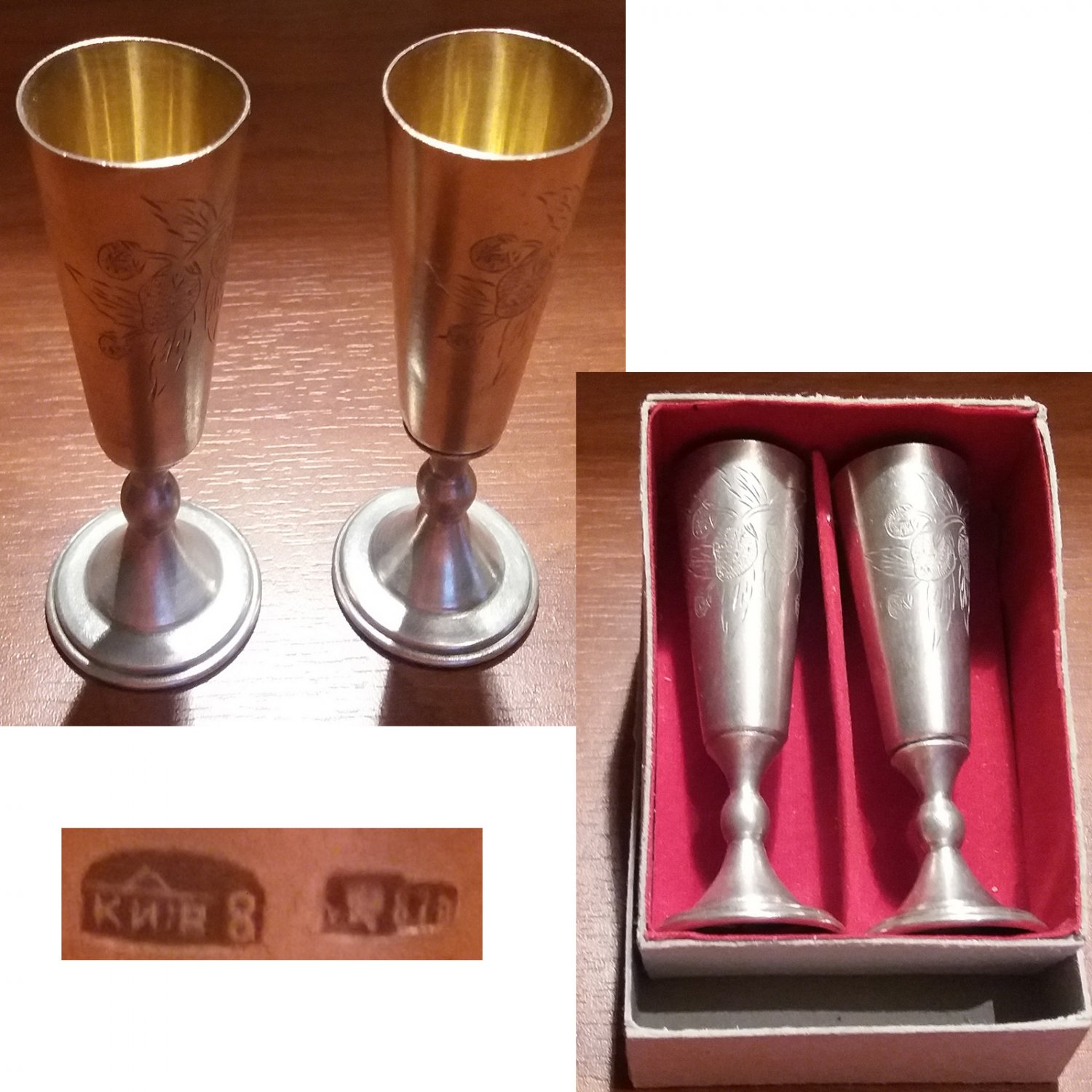 Traditional Russian footed vodka cup in solid silver from Kiev 1953