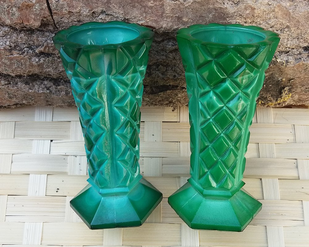 2 Small Malachite Vase