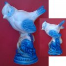 Crested Tit Blue & White Porcelain Figurine Gzhel 1950
