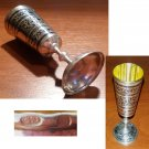 Traditional Russian footed vodka cup in solid silver from Dagestan