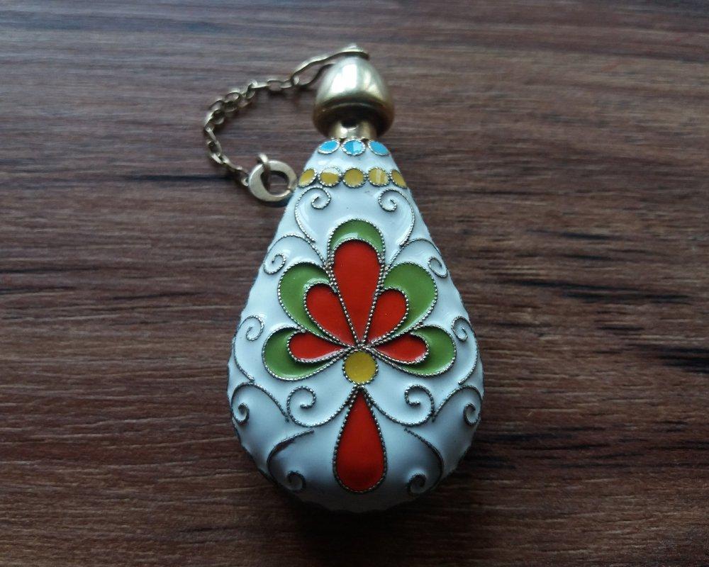 Russian/Soviet Era 925 Gilt Sterling Silver & Enamel Perfume Bottle