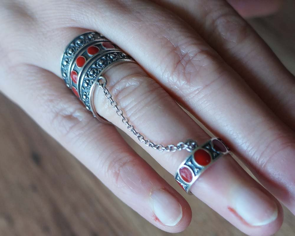 Armenian Double Ring Sterling Silver with Natural Stones
