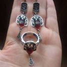 Armenian jewelry set, red/burgundy stones pomegranate drop earrings sterling silver and ring