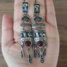 Armenian Earrings, red Cornelian Natural Stones and Petroglyphs design drop Earrings Sterling Silver