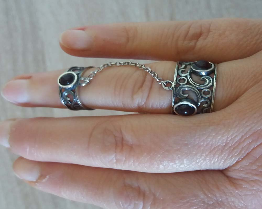 Armenian Double Ring Sterling Silver with Three Natural Stones