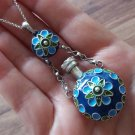 Armenian Enamel Sterling Silver Perfume Bottle Necklace