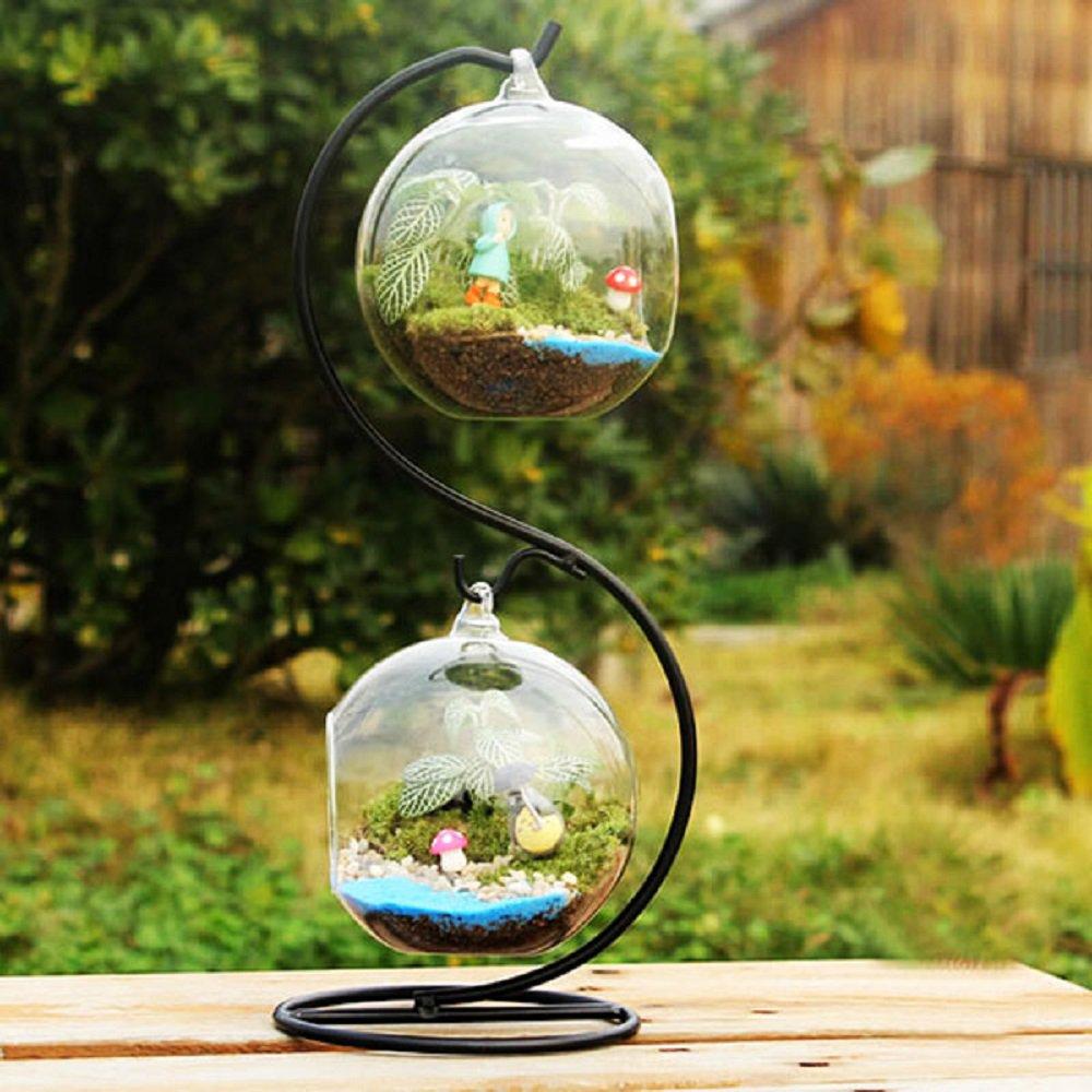 Gift Set - 2 Pcs 9.5cm Dia. Ball Shape Hanging Glass Vase with 30cm S Shape Iron Suspension Rack!