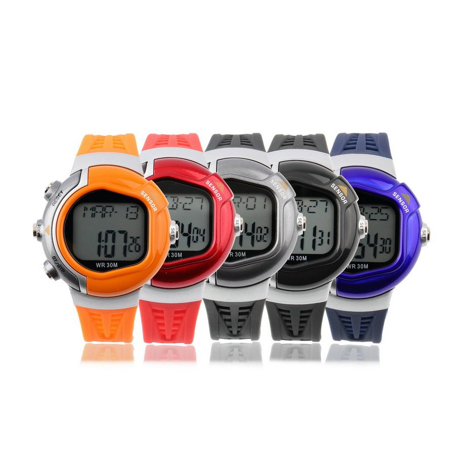 New! Stylish Heart Rate Built In ECG Sensor, Calorie Counter Chronograph Sport Watch LED Display