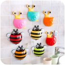 Cute Cartoon Bee Design Toothbrush Holder Suction Hooks Bathroom Accessor