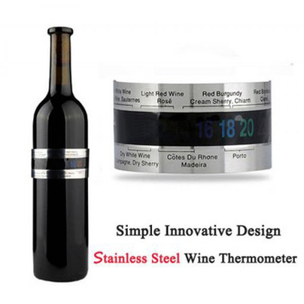 LCD Stainless Steel Wine Bracelet Creative Wine Thermometer