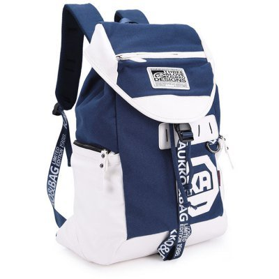 Canvas Unisex Preppy Style Backpack   -  SAPPHIRE BLUE