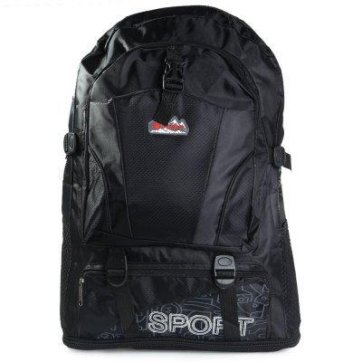 Oxford Outdoor Backpack Double Shoulder Bag  -  BLACK