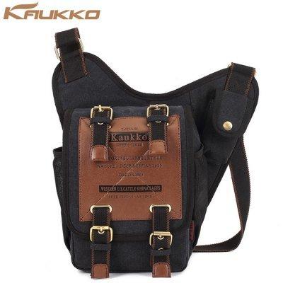 KAUKKO FH03 Vintage Style 5L Male Sling Bag   -  BLACK