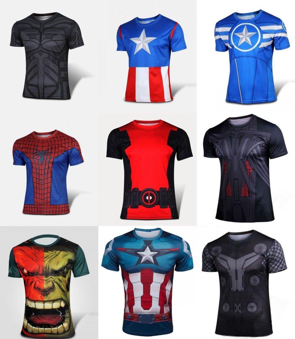 Marvel Captain America Super Hero Lycra Sport T shirt Men fitness clothing short sleeve