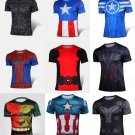 Marvel Captain America Super Hero Lycra Sport T shirt Men fitness clothing short sleeve