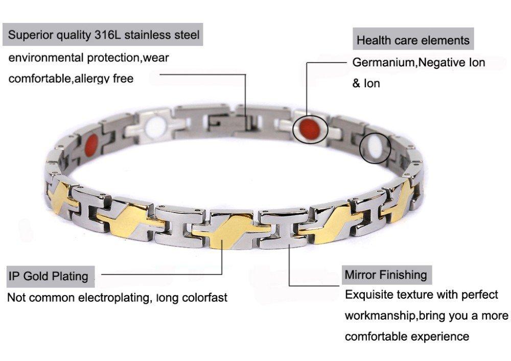 Fashion Women Jewelry Bracelet Healing Magnetic 316L Stainless Steel Bracelet
