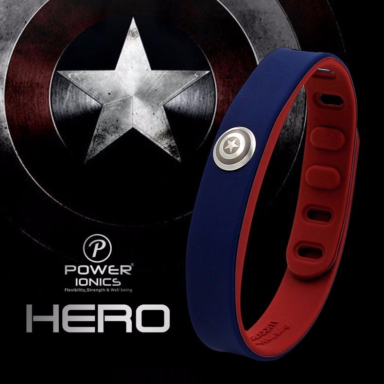 Captain America Super Hero Power Ionics 3000 ions Sports Titanium Bracelet Wristband
