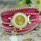 Fashion Lady Crystal Quartz Dress Watch Korean Crystal Rivet Bracelet with Love Heart Pendant