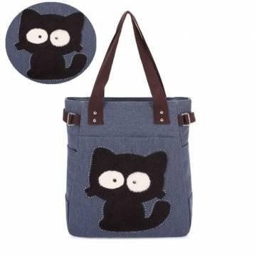 Cat Fashion Canvas Tote Shoulder Bag