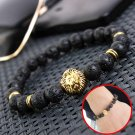 Men's Antique Black Lava Stone Gold Lion Head Bracelet