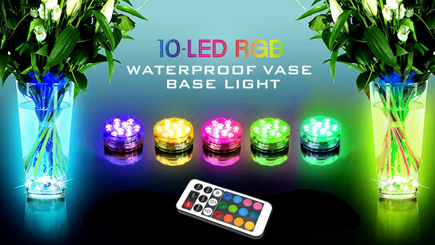10-LED Colorful Waterproof Vase Base Light Christmas Party Decoration Lamp w Remote Control