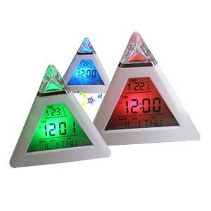 Pyramid Shape LCD Digital Display Alarm Clock Night Light