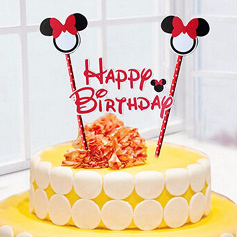 1 set of 2 Mickey Minnie Mouse theme happy birthday cupcake cake topper flags