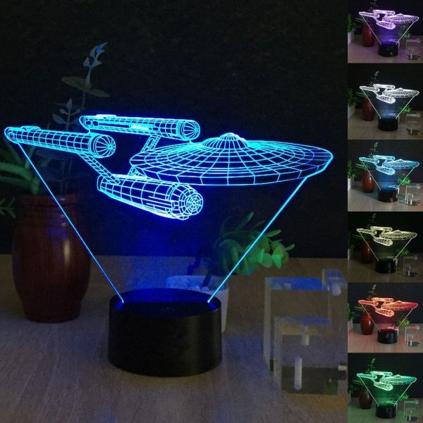 3D Spaceship STARWARS 7-Color LED Night Light Touch Switch USB Table Desk Lamp Decor