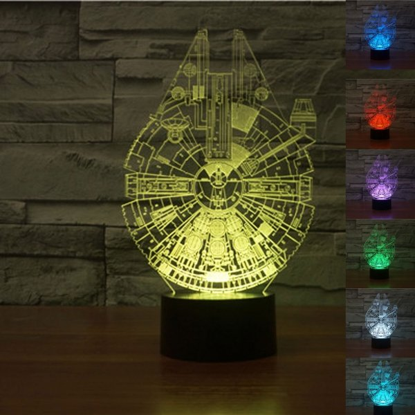 3D Star Wars Millennium Falcon 7-Color LED Night Light Touch Switch USB Table Desk Lamp Decor